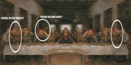 Fire up the ol' over-active imagination… Da Vinci Paintings Mirrored