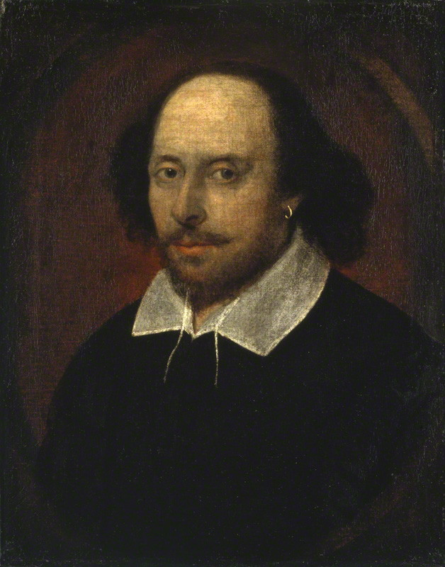 The Chandos portrait, attributed to John Taylor, oil on canvas, feigned oval, circa 1610 (NPG)